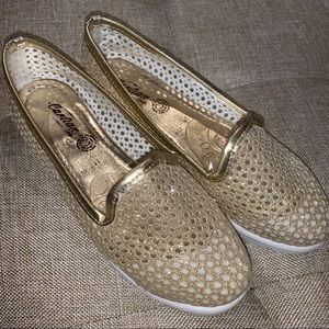 Sparkly gold mesh flats